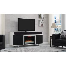 This contemporary TV stand features an integrated sound bar that provides a...