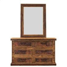 "Mirror : 36"" x 2"" x 48"" Turquoise Copper Panel Dresser"