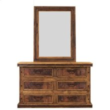 "Mirror : 36"" x 2"" x 48"" Turquoise Copper Panel Dresser"