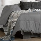 2 item kit - Cable-Knit Throw Pillow with Patterned Throw Blanket - Gray and Blue Product Image