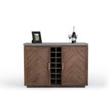 Modrest Amos Modern Concrete & Acacia Wine Cabinet