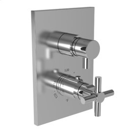 "Polished Gold - PVD 1/2"" Square Thermostatic Trim Plate with Handle"