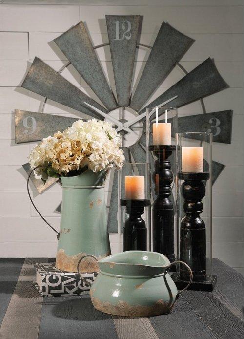 Ella Elaine Medium Wood and Glass Candleholder