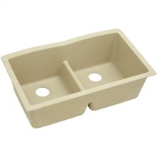 "Elkay Quartz Classic 33"" x 19"" x 10"", Equal Double Bowl Undermount Sink with Aqua Divide, Sand"