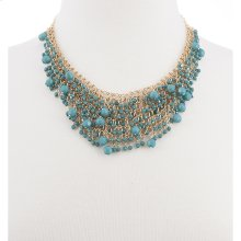 BTQ Blue Beaded Draped Necklace