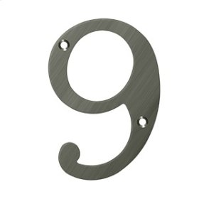 """6"""" Numbers, Solid Brass - Antique Nickel"""