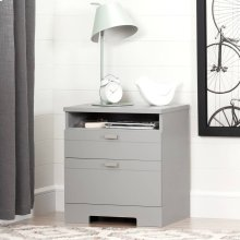 Nightstand with Drawers and Cord Catcher - Soft Gray