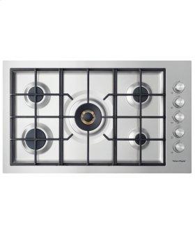 """Gas on Steel Cooktop 36"""" 5 Burner, Flush Fit"""