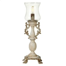 Vintage Scroll Table Lamp with Glass Shade. 60W Max.