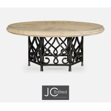 "72"" Limed Wood Dining Table with Wrought Iron Base"