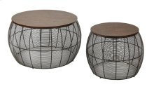 Camden 2pc Round Metal Accent Tables With Espresso Wood Top.