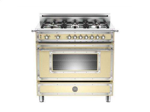 36 6-Burner, Gas Oven Matt Cream