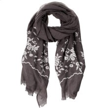Grey Floral Embroidered Scarf.