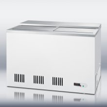 Commercially approved frost-free chest beer froster with precision digital thermostat (preset at 24° F), stainless steel lid, and 8 storage baskets