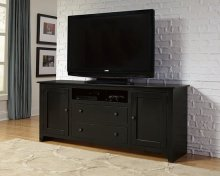 "68"" Black Entertainment Console - Pine, Dark Pine and Black Finish"