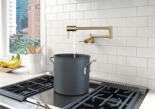 Champagne Bronze Contemporary Wall Mount Pot Filler