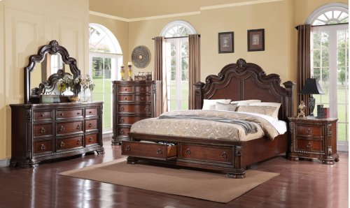 Riviera - Rich Cherry Panel King Bed Kit