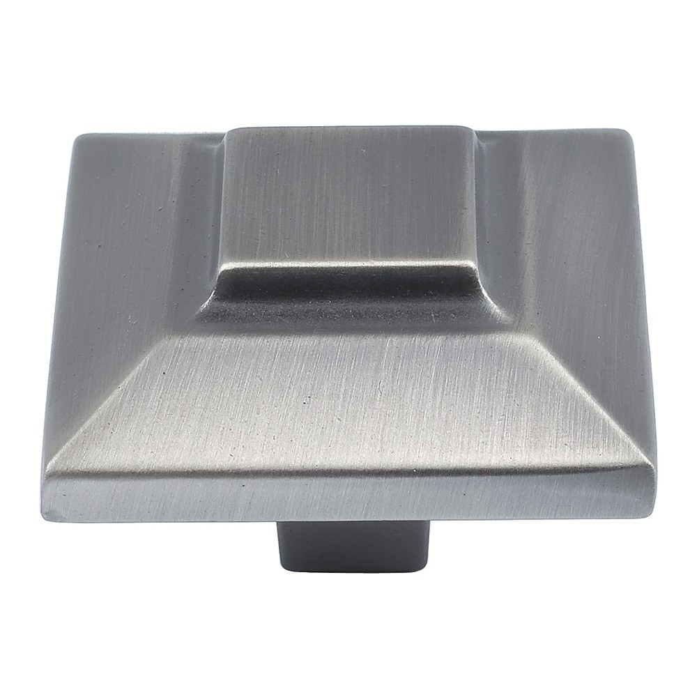 Trocadero Large Square Knob 1 1/2 Inch - Pewter
