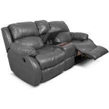 Leather Litton Double Reclining Loveseat Console 201085L