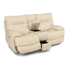 Evian Leather Power Reclining Loveseat with Console and Power Headrests