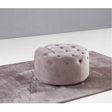 Divani Casa Matthew Transitional Grey Velvet Round Tufted Ottoman