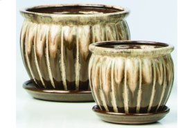 Brown Chaudron Petits Pots with Attached Saucer - Set of 2