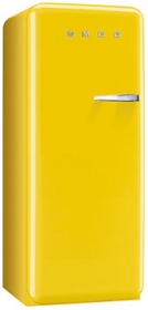 50'S Style Refrigerator with ice compartment, Yellow, Left hand hinge