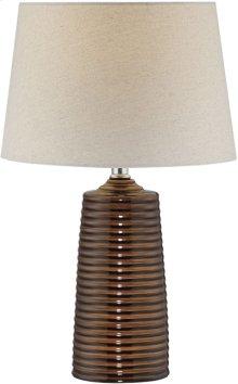 Table Lamp, Ceramic Body/off-white Fabric Shade, E27 Cfl 13w