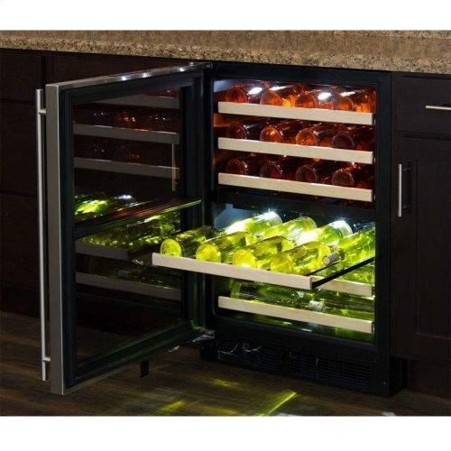 "Marvel 24"" High Efficiency Dual Zone Wine Refrigerator - Black Frame, Glass Door - Left Hinge, Stainless Designer Handle"