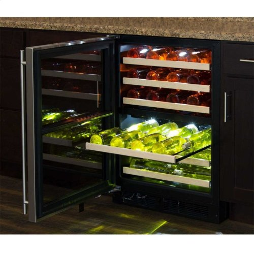 "Marvel 24"" High Efficiency Dual Zone Wine Refrigerator - Stainless Frame, Glass Door - Right Hinge, Stainless Designer Handle"