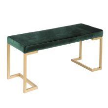 Midas Bench - Gold Metal, Emerald Green Velvet