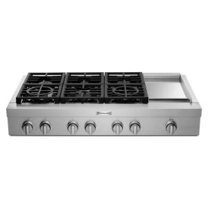 KitchenaidKitchenAid® 48'' 6-Burner Commercial-Style Gas Rangetop with Griddle - Stainless Steel