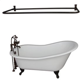 "Icarus 67"" Cast Iron Slipper Tub Kit - Oil Rubbed Bronze Accessories - White"