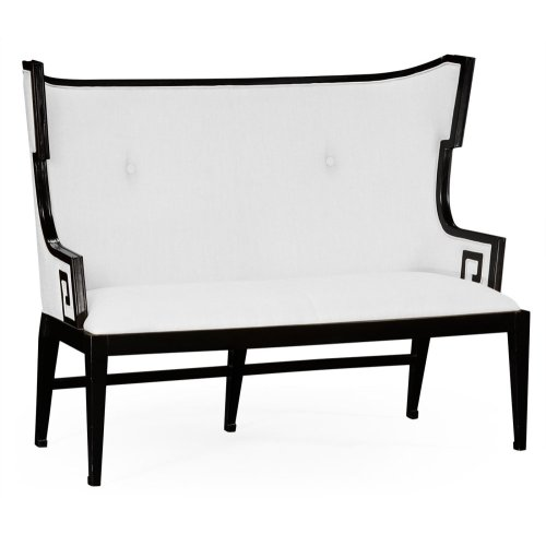Greek Key Design Black Biedermeier Settee, Upholstered in COM