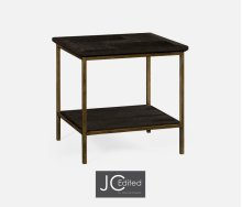Dark Ale Square End Table with Iron Base