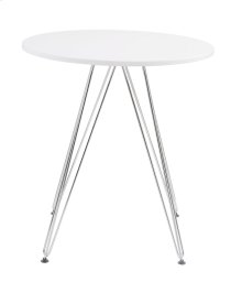 "Emerald Home Audrey Dining Table-round 27.5"" Diameter White Top, Chrome Base D119-10-27wht"
