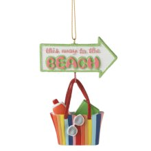 """""""This Way to the Beach"""" Tote Ornament."""