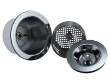 "3-in-1 - 3-1/2"" Kitchen Sink Strainer with Stopper Lid and Lift-Out Basket"