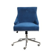 Luxe Button Back Office Chair in Navy Blue Velvet