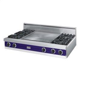 """Cobalt Blue 48"""" Open Burner Rangetop - VGRT (48"""" wide, four burners 24"""" wide griddle/simmer plate)"""