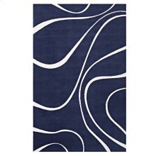 Therese Abstract Swirl 5x8 Area Rug in Navy and Ivory