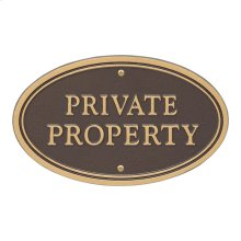 Private Property Oval Wall/Lawn Statement Plaque - Bronze/Gold