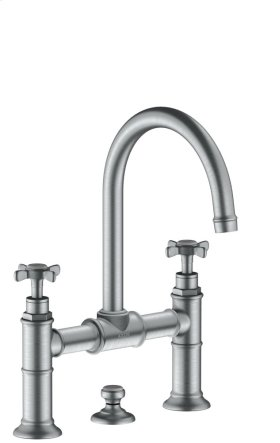 Brushed Chrome 2-handle basin mixer 220 with pop-up waste set