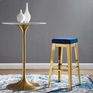 Arrive Gold Stainless Steel Performance Velvet Bar Stool in Gold Navy