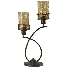 Bronze  Metal Glass Shade Uplight with Base Switch  Edison Bulbs Included