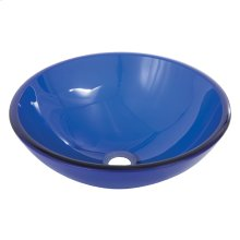 Round navy blue tempered glass basin