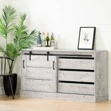 Buffet with Storage and Sliding Door - Seaside Pine