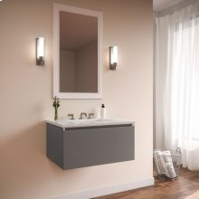 """Curated Cartesian 24"""" X 15"""" X 21"""" Single Drawer Vanity In Matte Gray Glass With Slow-close Plumbing Drawer and Engineered Stone 25"""" Vanity Top In Quartz White (silestone White Storm)"""