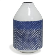 White and Blue Distress  14in x 8in Traditional Checkered Metal Vase