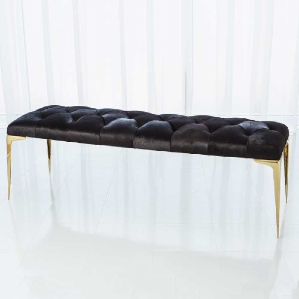 Stiletto Bench-Black Hair-on-Hide
